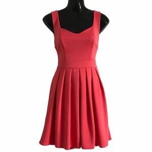TOPSHOP TALL coral fit & flare dress keyhole back